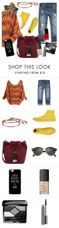 """""""Waiting for sweater weather"""" by ivyfanfic ❤ liked on Polyvore featuring Hollister Co., Gorjana, Converse, Loeffler Randall, Ray-Ban, NARS Cosmetics, Christian Dior and MAC Cosmetics"""