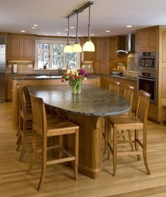 Dining Room. Fabulous All Cherry Wooden Kitchen Design Featuring L-Shaped Cabinet And Rectangle Island Combined With Eat In Kitchen Table With Grey Granite Top Including Six Wooden Dining Chairs With Hanging Pendant Lamp Fixtures Ideas. Sweet Eat In Kitchen Tables Design, Turn Kitchen Into Dining Area