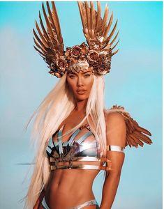 Victory Rose Headdress Made to order gold wings roses Etsy Estilo Burning Man, Moda Burning Man, Burning Man Mode, Burning Man Style, Burning Man Fashion, Burning Man Outfits, Burning Man Costumes, Burning Man Clothing, Look Festival