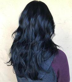 Blue Black Layered Hair