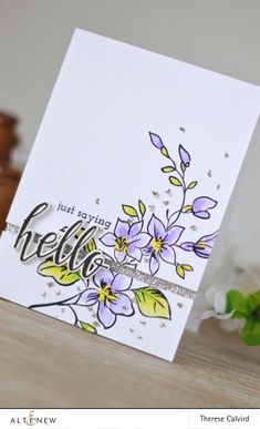 Altenew Best Mom, halftone hello, super script, Tombow dual brush - Detail copy Altenew Cards, Beautiful Handmade Cards, Scrapbook Cards, Scrapbooking, Mothers Day Cards, Pretty Cards, Card Sketches, Card Tags, Flower Cards