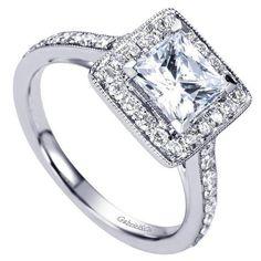 ENGAGEMENT - 1.80cttw Princess Cut Halo Diamond Engagement Ring With Bead Set Side Diamonds