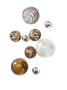 Worldly Goods Set of 9 Glass Wall Spheres Wall Spheres, Chocolate/White at MYHABIT