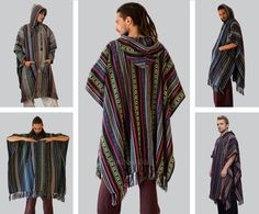 Handmade Colourful Knitted Cotton Poncho. ☆ 100% Cotton. high quality. ☆ ☆ Free size Length(from shoulders) 40 inch Width 44 inch ☐ ☐ ☐ Our Jackets and Hodies: http://www.etsy.com/shop/manaKAmana?section_id=11810668 You are welcome to have a look at more of our items: