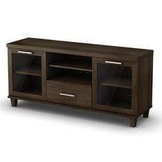 This Mat Brown TV stand is ergonomically designed to place your television at the ideal height. It features framed doors with windows, #decorative legs and a thi...