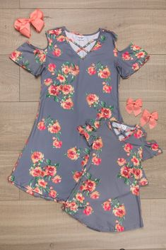Mommy and Me Matching Grey Gray Floral Cold Shoulder Dress sip Mommy Daughter Dresses, Mother Daughter Shirts, Mommy And Me Dresses, Mommy And Me Outfits, Family Outfits, Toddler Outfits, Kids Outfits, Matching Outfits, Swagg