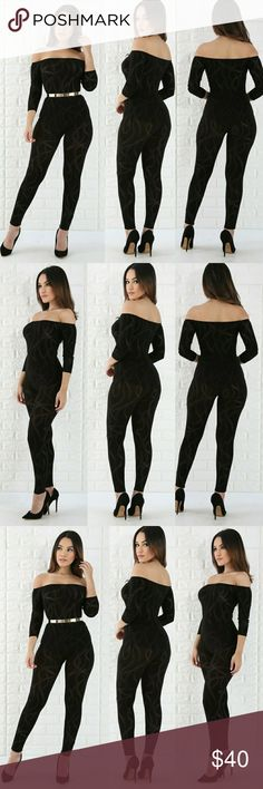 Velvet swirl jumpsuit 95% POLY 5% SPANDEX This velvet swirl jumpsuit features, a stretchy fabric, see through fabric, off shoulder neckline, short sleeves, well fitted no closures. Model is wearing a small Pants Jumpsuits & Rompers