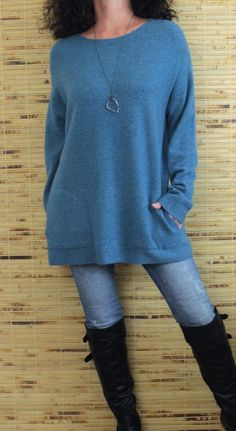 210b1a577c Pure Jill J Jill Alpaca Wool Scoop Neck Oversize Style Tunic Sweater Blue  Sz M
