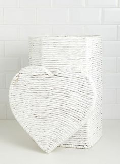White Heart Laundry Basket - laundry & storage - storage  - Home & Lighting