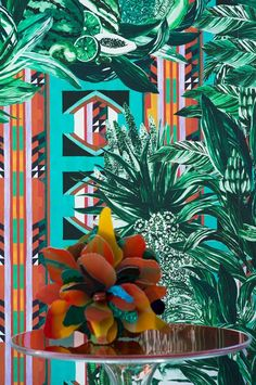 """from Pierre Frey Jungle collection PAPAGAYO  Width : 140 cm / 55.1"""" Repeat : (V) 140 cm/55.1"""" (H) 140 cm/55.1"""" Non woven paper  Available per meter 157 euros/meter"""
