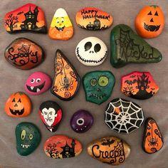 Rock Painting Patterns, Rock Painting Ideas Easy, Rock Painting Designs, Pebble Painting, Pebble Art, Stone Painting, Painted Rocks Craft, Hand Painted Rocks, Halloween Rocks