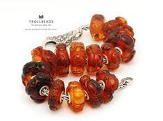 Trollbeads Carved Ambers Arrive in the UK Amber Bracelet, Amber Jewelry, Beaded Bracelets, Headpiece Jewelry, Jewellery, Jewelry Companies, Troll Beads, Carving, Gemstones