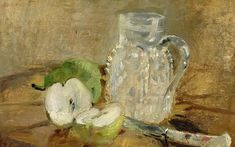 "Berthe Morisot      ""Still Life with Cut Apple and Pitcher"""