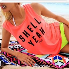 Shell yeah Victoria secret Pink brand top Brand new Pink brand  top Shell yeah top brought online so the tag is the sticker they sealed it with PINK Victoria's Secret Tops