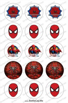 Spiderman logo 1-inch Round Bottle Cap Images 4 x 6 in Digital Sheet, 1 inch circles, rounds, 1 inch digital images on Etsy, $1.50