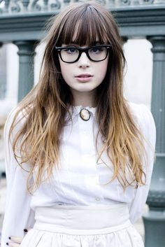 This!  This is the exact hair I want - except sometimes wavy, since my hair is naturally wavy.  I've had side-swept bangs for so long, I don't know how straight bangs would look on me.  Well, it looked cute on me when I was four, so~