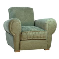 """In Stone Washed light green linen, our deep, low seat tufted cushion features elegant white stitching with handsome nail head trim and rolled panel arms. In true English country-style, the Edgar Club Chair evokes a cozy, historical feeling. <BR><BR> • Light Green Linen Upholstery<BR> • Natural Oak Legs<BR> • Hardwood Frame<BR> • Tufted Seat Cushion<BR> • Nail head details and rolled arms<BR> • 37""""L x 42""""D x 33""""H<BR> <BR><strong>Return Policy</strong><BR> Due to the size of this ..."""