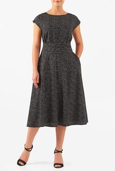 Love the shape but I just can't wear black. I <3 this Dot print pleated empire crepe dress from eShakti