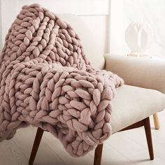 TOP 10 AUTUMN INTERIOR TRENDS FROM NOT ON THE HIGHSTREET, knitted throw, blush pink throw, soft furnishing