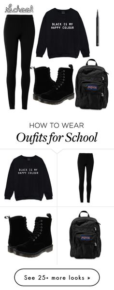 """School"" by lalalauralucy on Polyvore featuring Max Studio, Dr. Martens, JanSport and H&M"
