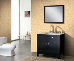 33 Dunkle Badezimmer Design Ideen   Bad Einrichtung Schwarz Weiß Kontrast  Hellgelbe Wände Modern Bathroom Minimalistic