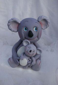 Koala bears porcelana fria polymer clay pasta francesa masa flexible fimo modelling modelado figurine cake topper