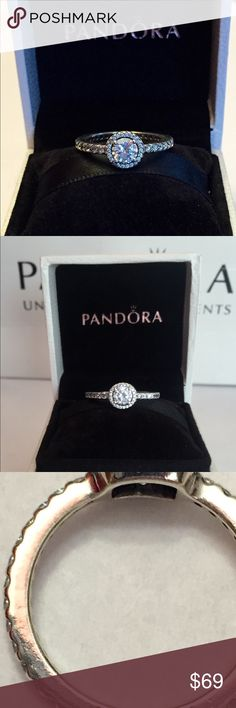 Authentic Pandora Classic Elegance Ring size 7-54 Sterling Silver with Cz's. Hallmark Stamp S 925 ALE. Size 7-54..The Pandora Hinged Box is included. Thank you. Pandora Jewelry Rings