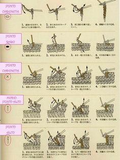 Símbolo de los puntos del crochet en los patrones japoneses: los puntos básicos | Margarita Knitting Crochet Gratis, Tutorial Crochet, Knitting, Crocheting, Knits, Crochet Stitches, Japanese Patterns, Tutorials, Weddings