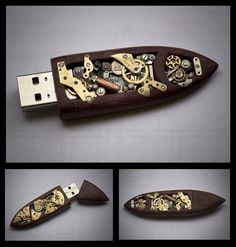 Steampunk flash drive!  (16GB Mechanical Memory Key. $165.00, via Etsy.)