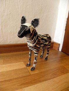 African Beaded Wire Animal WILD DOG Natural от Hadeda на Etsy