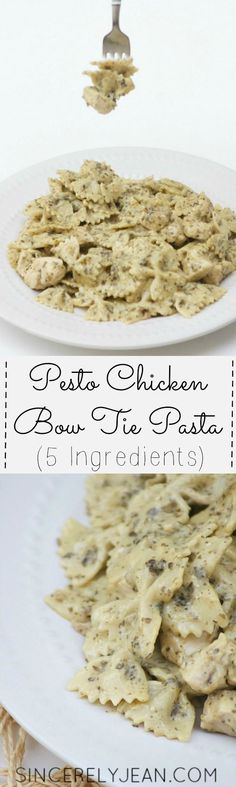 5 Ingredient Pesto Chicken Bow Tie Pasta - easy and quick dinner recipe! | www.sincerelyjean.com