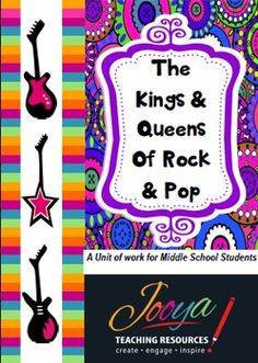 Kings and Queens of Rock and PopThis resource is designed for Music students in the Middle School. The unit includes lessons on artists and musicians such as The Beatles, Aretha Franklin, Joni Mitchell, Led Zeppelin, Madonna, and Michael Jackson. Each lesson includes information on the style of music, the biography of the artist, a Super Six Reading Strategy, a listening activity and an optional                extension activity.