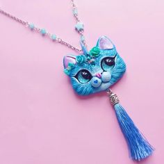 Unikitty Blue Unicorn Cat pendant by FleurDeLapin