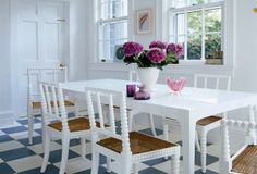 The antique English chairs in the kitchen have been painted white to match the table and the stark white decor of the room White Decor, Antiques, Interior, Table, Room, Furniture, Chairs, English, Kitchen