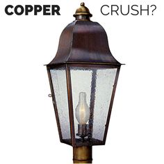 Keene Copper Lantern Outdoor Post Light by Lanternland: Handmade in the USA from solid copper and brass.