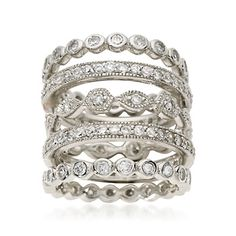 Set of Five 2.80 ct. t.w. CZ Eternity Bands in Sterling Silver