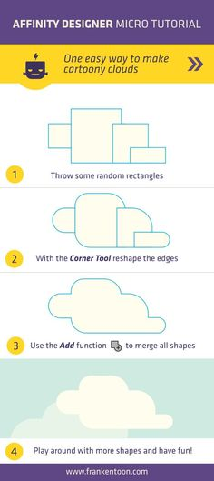 very easy way to create clouds in Affinity Designer. Make sure to visit to see more detailed Affinity Designer Tutorials. Flat Design, Graphisches Design, Graphic Design Tutorials, Tool Design, Graphic Design Inspiration, Adobe Illustrator Tutorials, Photoshop Illustrator, Inkscape Tutorials, Affinity Photo