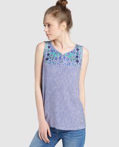 Camiseta de mujer Tintoretto de rayas con bordado