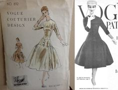 Vogue Couturier 892, Simonetta of Italy, ca 1956; Sz 14/Bust 32