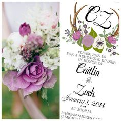 Fall/Winter Shades of Purple and White Floral Antler Wedding Invitation with Hand Written Calligraphy. Design Colors can be customized to your bouquet by Behold Designz.