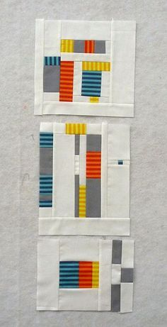 "These are really fun! I love the use of the stripey fabrics in these ""Design Camp 2 - Sept. Blocks"" by Linda Nussbaum."