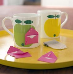 mini envelopes with notes/sayings on ends of tea bags