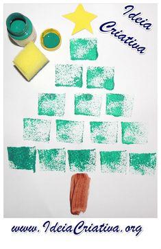 Ideia Criativa - Gi Barbosa Educação Infantil: Árvore de Natal Pintura esponjada
