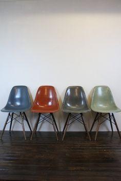 Eames Herman Miller DSW side chairs on walnut base in mid blue / terracotta / seafoam green / elephant grey