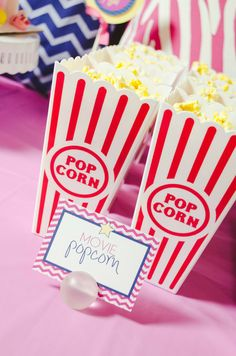 Fun popcorn containers at a slumber party!  See more party ideas at CatchMyParty.com!  #partyideas #girlbirthday
