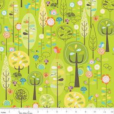Riley Blake Designs Happier by Denna Rutter. 100% cotton pattern C5500 Green - Happier - Main. $8.50, via Etsy.