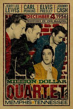 Il poster di Million Dollar Quartet. Johnny Cash. Jerry Lee
