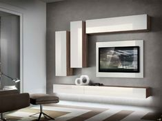 Modern Wall units and Entertainment centers for your modern living room from top Italian and European designers at closeout price. Living Room Wall Units, Living Room Tv Unit Designs, Home Living Room, Living Room Decor, Tv Unit Decor, Tv Wall Decor, Tv Wall Design, House Design, Modern Tv Wall Units