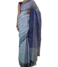 Off White Pure Handloom Bhagalpur Linen Silk Saree