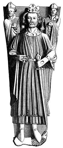 A drawing of the effigy of King John in Worcester Cathedral - youngest of 5 sons of Henry II and Eleanor of Aquitaine - his older brothers, William, Henry & Geoffrey, died young - became king after his brother, Richard, died in 1199 until his death in 1216 - succeeded by his 9 year old son, Henry III. 27th GGF
